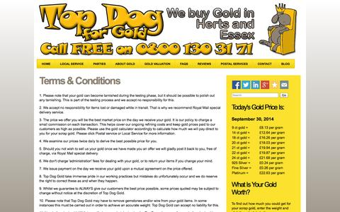 Screenshot of Terms Page topdogscrapgold.co.uk - Terms & Conditions | Top Dog Scrap Gold - captured Sept. 30, 2014