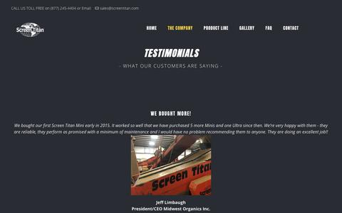 Screenshot of Testimonials Page screentitan.com - Testimonials from our customers - captured July 18, 2018