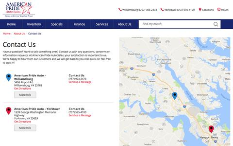 Screenshot of Contact Page Locations Page Hours Page americanprideautosales.com - Contact American Pride Auto Sales in  Virginia - captured Dec. 25, 2017
