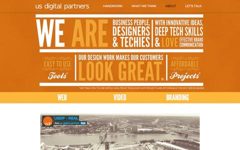 Screenshot of About Page usdigitalpartners.com - About us - We are designers, technologists and business people ready to help grow your company on the web. - captured Jan. 12, 2016