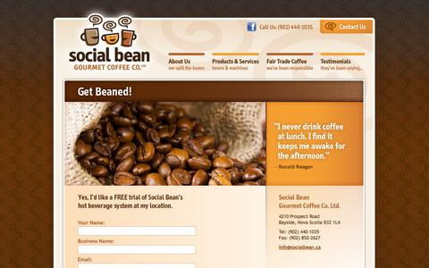 Screenshot of Trial Page socialbean.ca - Office Coffee Machine, Halifax, Fair trade coffee at your office, school, and everywhere! | Halifax, Nova Scotia | Social Bean | Get Beaned! - captured Oct. 26, 2014