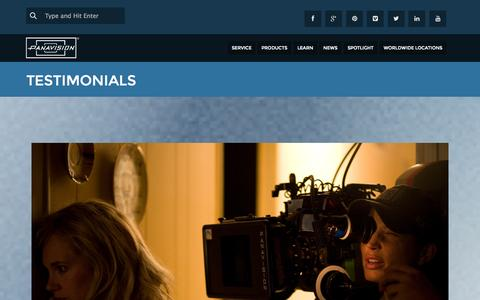 Screenshot of Testimonials Page panavision.com - Testimonials | Panavision - captured Sept. 23, 2014
