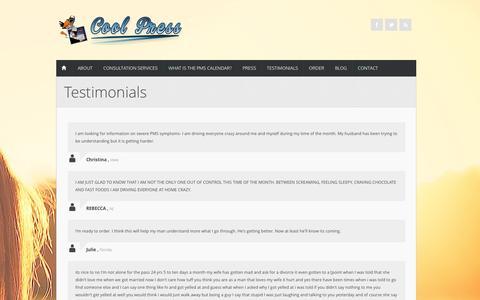 Screenshot of Testimonials Page coolpress.com - Testimonials | His and Hers PMS Calendar - captured April 10, 2017