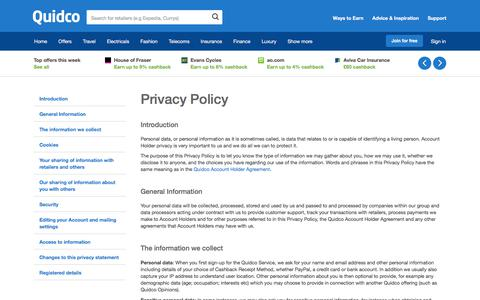 Screenshot of Privacy Page quidco.com - Quidco - The UK's #1 Cashback Site - captured April 23, 2018