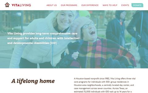 Screenshot of Home Page vitaliving.org - Home | Vita Living - captured Oct. 18, 2018
