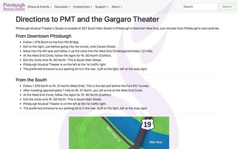 Screenshot of Maps & Directions Page pittsburghmusicals.com - PMT - Directions to our Studios - captured Aug. 4, 2017