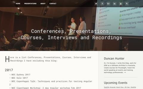 Screenshot of Press Page duncanhunter.com.au - Duncan Hunter: Conferences, Presentations, Courses, Interviews and Recordings - captured Jan. 27, 2017