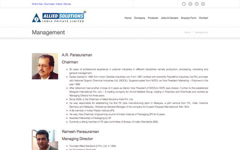 Screenshot of Team Page alliedsolutions.com - Allied Solutions   Plastic Processing Industry   Compressors   Mumbai, India.     Management - captured Oct. 4, 2014