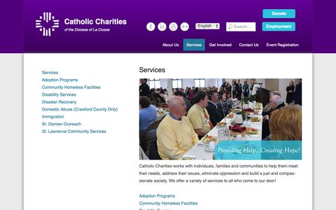 Screenshot of Services Page cclse.org - Services | Catholic Charities - captured Sept. 27, 2018