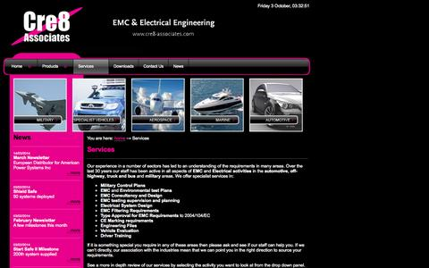 Screenshot of Services Page cre8-associates.com - EMC, EMC filters, Electrical Engineering, EMC Consultancy & Testing. - captured Oct. 3, 2014