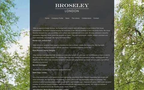 Screenshot of Testimonials Page broseley.com - Broseley London - captured Oct. 5, 2014
