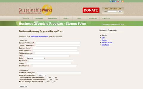 Screenshot of Signup Page sustainableworks.org - Business Greening Program - Signup Form | Sustainable Works - captured Aug. 4, 2015