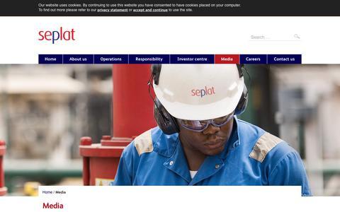Screenshot of Press Page seplatpetroleum.com - Media   Seplat Petroleum - captured Sept. 14, 2017