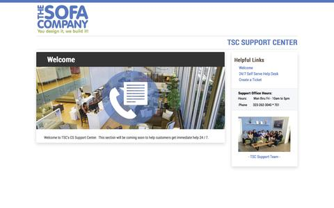Screenshot of Support Page thesofaco.com - Customer Support & Service Center | The Sofa Company - captured Sept. 19, 2014