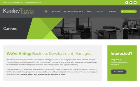 Screenshot of Jobs Page keeley-travis.co.uk - Careers at Keeley Travis Business Solutions | Manchester - captured Sept. 20, 2018
