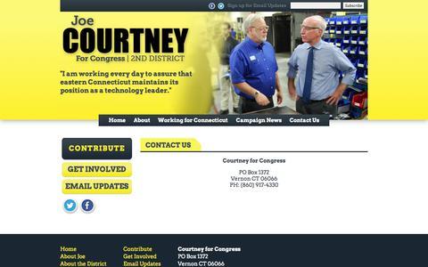 Screenshot of Contact Page joecourtney.com - Contact Us «  Joe Courtney for Congress - captured Oct. 3, 2014