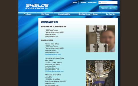 Screenshot of Contact Page shieldsbag.com - Contact Us - captured Oct. 26, 2014