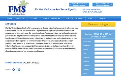 Screenshot of Services Page floridamedspace.com - Medical Office Broker - Florida Medical Space, Inc. - captured Oct. 10, 2018