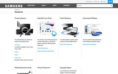 Screenshot of Contact Page samsung.com - Samsung - captured Oct. 10, 2014