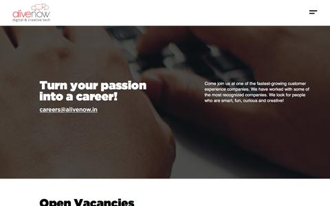 Screenshot of Jobs Page alivenow.in - Careers at AliveNow | AliveNow - Digital Marketing Agency - captured July 30, 2019