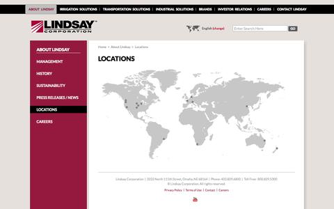 Screenshot of Locations Page lindsay.com - Lindsay Corporation | Locations - captured Sept. 26, 2014