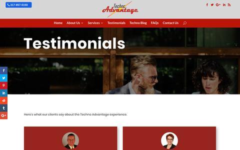 Screenshot of Testimonials Page technoadvantage.com - Testimonials - Techno Advantage - captured Oct. 20, 2018