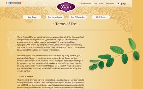 Screenshot of Terms Page yogiproducts.com - Yogi Products Disclaimer   Yogi Tea - captured Aug. 28, 2016