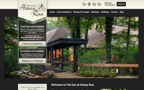 Screenshot of Home Page innathoneyrun.com - Ohio Amish Country boutique hotel and corporate meeting facilities - captured Feb. 21, 2016