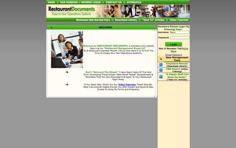 Screenshot of Home Page restaurantdocuments.com - .: Restaurant Management Blueprint :. Downloadable Spreadsheets, Forms and Templates for Your Restaurant - captured Sept. 30, 2014