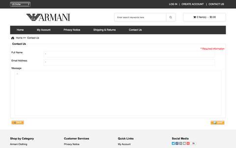 Screenshot of Contact Page elevinmedia.com - Contact Us : Armani USA Store, Armani Clothing - captured July 28, 2017