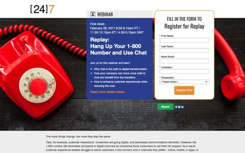 Screenshot of Landing Page 247-inc.com - Webinar Registration: Hang Up Your 1-800 Number and Use Chat - captured April 13, 2017