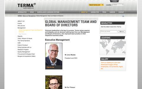 Screenshot of Team Page terma.com - Global Management Team and Board of Directors - captured Nov. 16, 2017