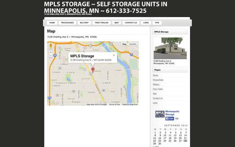 Screenshot of Maps & Directions Page mplsstorage.com - Map « MPLS Storage ~ Self Storage Units in Minneapolis, MN ~ 612-333-7525 - captured Sept. 30, 2014