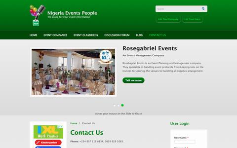 Screenshot of Contact Page nigeriaeventspeople.com - Contact Us | Nigeria Events People - captured Oct. 21, 2018