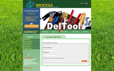 Screenshot of Login Page deltools.com - Zhangjiagang City Deltools CO.,Ltd - captured Sept. 26, 2014
