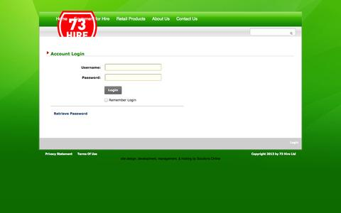 Screenshot of Login Page 73hire.co.nz - User Log In - captured Oct. 7, 2014