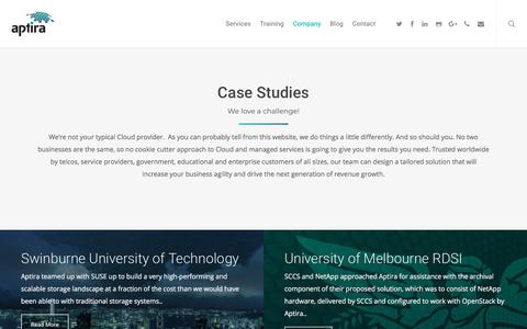 Screenshot of Case Studies Page aptira.com - Cloud Case Studies - Aptira - captured July 14, 2018