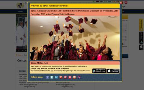 Screenshot of Contact Page tauedu.org - Texila American University's Contact Us | TAU Location - captured Jan. 19, 2016