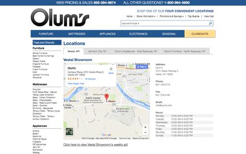 Screenshot of Contact Page Locations Page olums.com - Olum's - Vestal, NY 607-729-5775 - Furniture Store, Appliance Store - captured Dec. 1, 2016