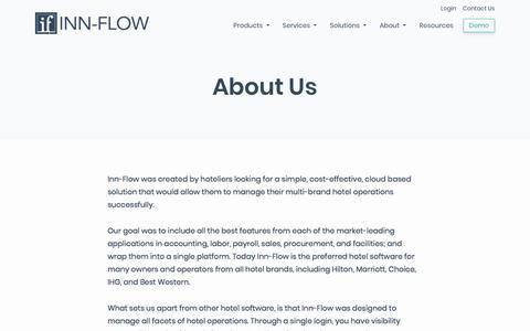 Screenshot of About Page inn-flow.com - Hotel Management Software | Inn-Flow - captured Nov. 8, 2019