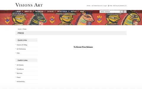 Screenshot of Press Page visionsarts.com - Gallery for Modern and Contemporary Indian Art - captured Oct. 26, 2014