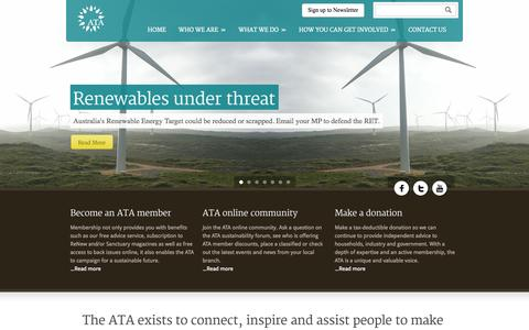 Screenshot of Home Page ata.org.au - The Alternative Technology Association - captured Sept. 23, 2014
