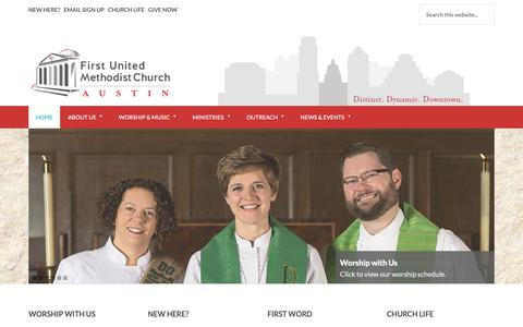 Screenshot of Home Page fumcaustin.org - First United Methodist Church of Austin - captured Oct. 10, 2018