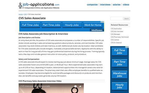 Screenshot of Support Page job-applications.com - CVS Sales Associate - Job Description & Salary - captured Oct. 16, 2017