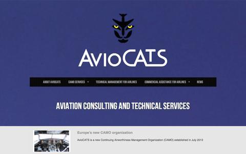 Screenshot of Home Page aviocats.com - AvioCATS | Professional Avio Services - captured Sept. 30, 2014