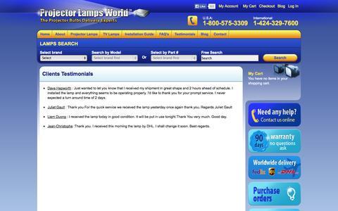 Screenshot of Testimonials Page projectorlampsworld.com - Clients Testimonials - captured Sept. 24, 2014