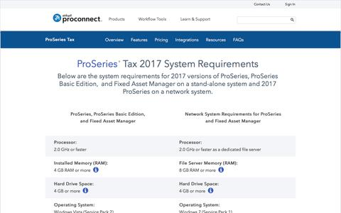 Screenshot of intuit.com - ProSeries Professional Tax 2017 System Requirements - captured July 22, 2017