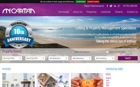 Screenshot of Press Page mccartanlettings.co.uk - Multi Award Winning Lettings & Property Management Swansea   McCartan Lettings - captured Nov. 18, 2016