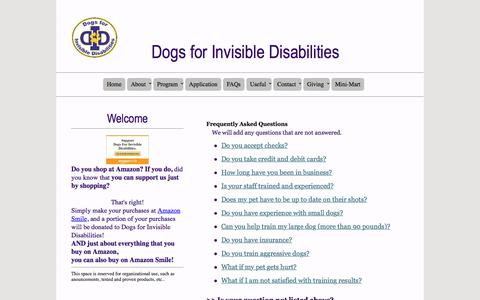 Screenshot of FAQ Page dogsforinvisibledisabilities.com - DID Dogs   FAQs - captured June 5, 2017