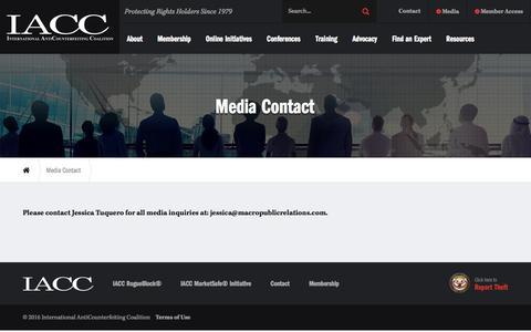 Screenshot of Press Page iacc.org - Media Contact - captured Dec. 28, 2016